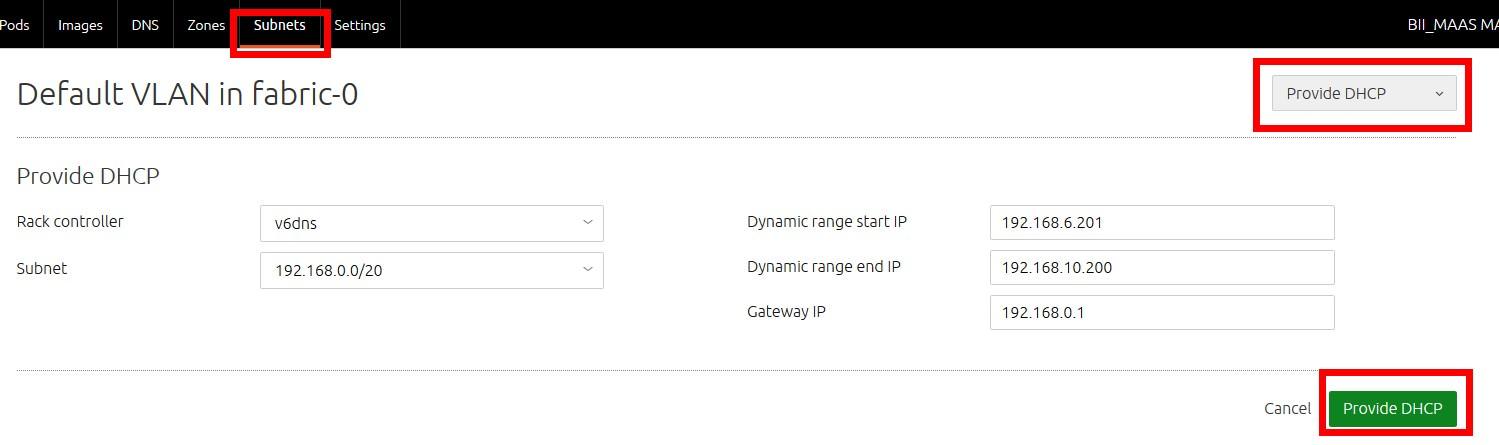 MAAS DHCP配置