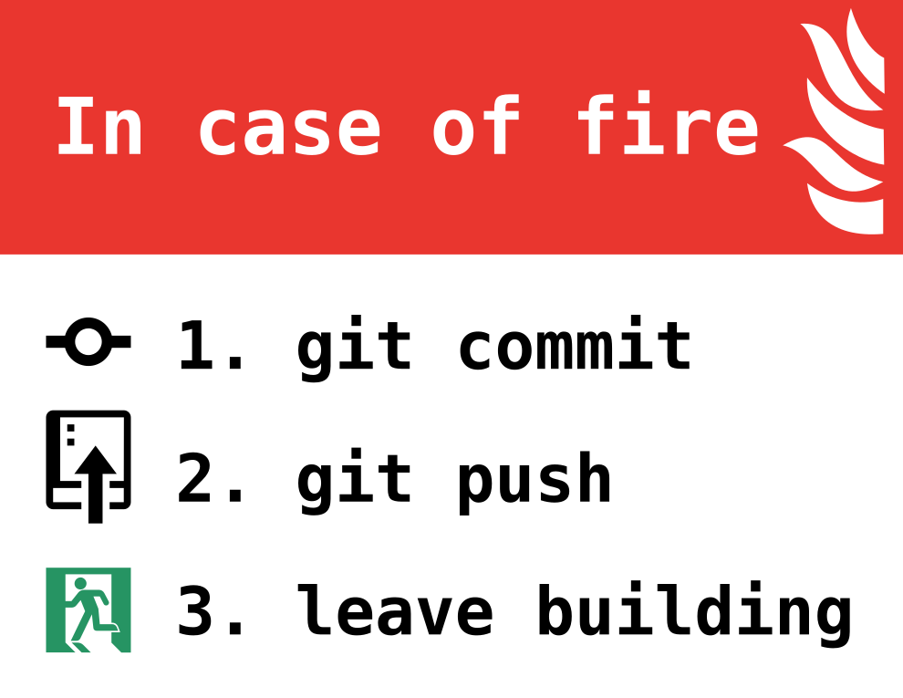 In case of fire: `git commit`, `git push`, then leave the building.