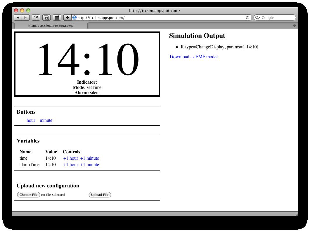 A screenshot of the simulator running via a web browser