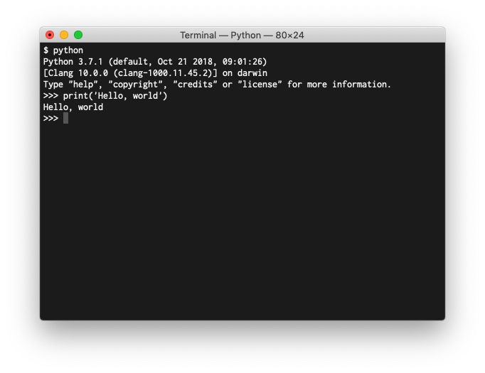 A session in the Python command line interpreter