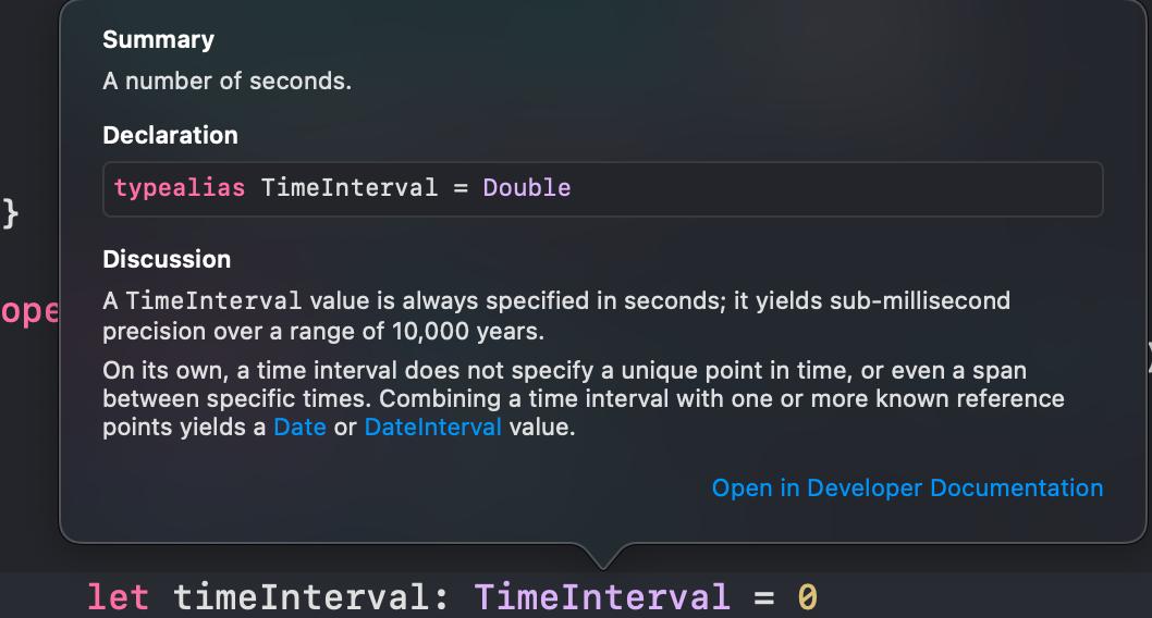 TimeInterval documentation