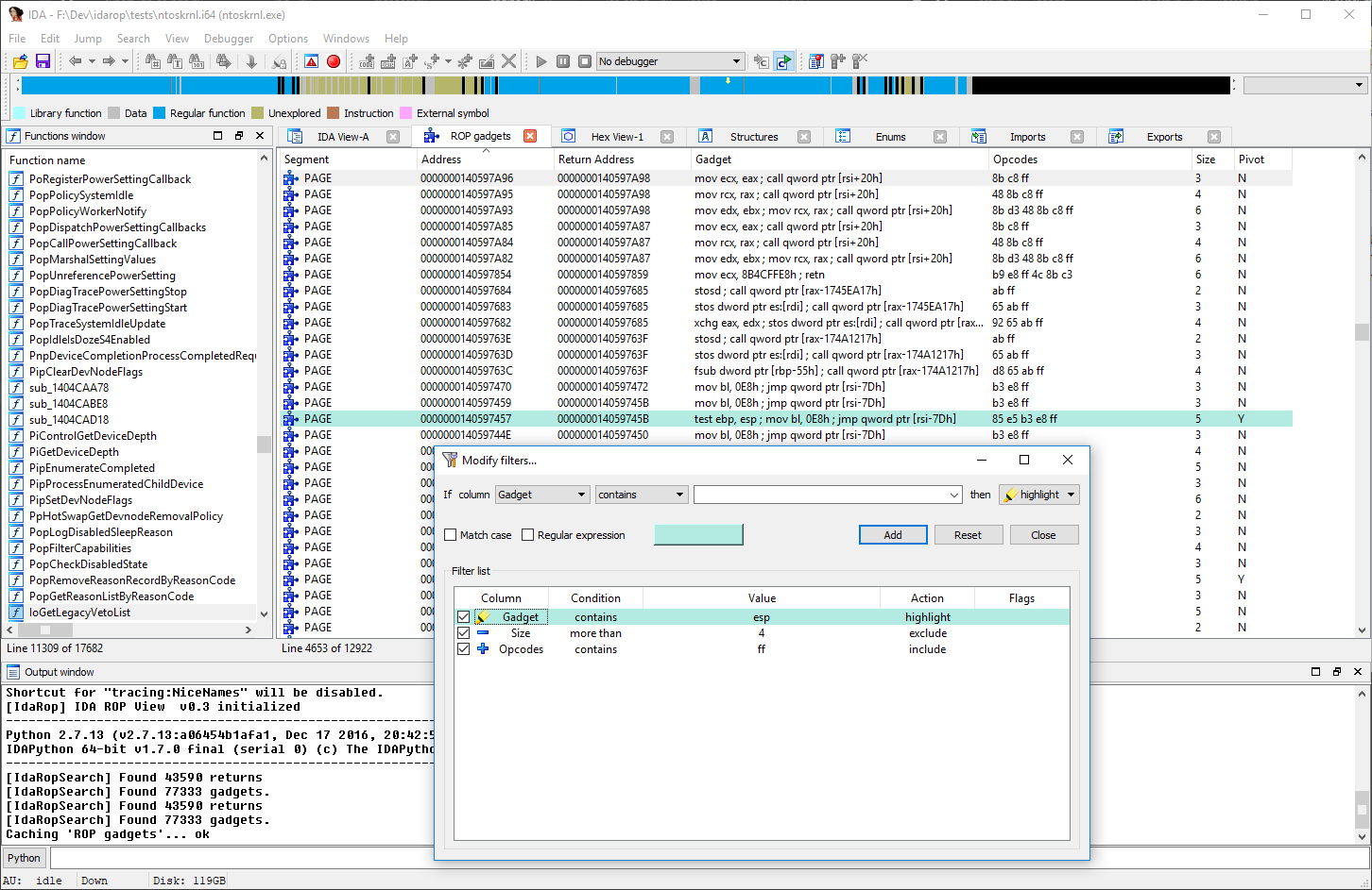 Filtering ROP Gadgets using IDA Filters Tool