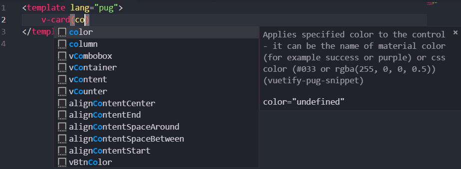 Vuetify Pug snippet - Visual Studio Marketplace