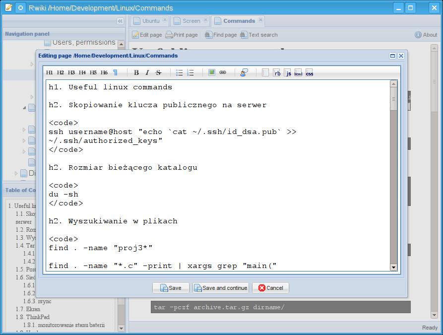 Rwiki editing a page
