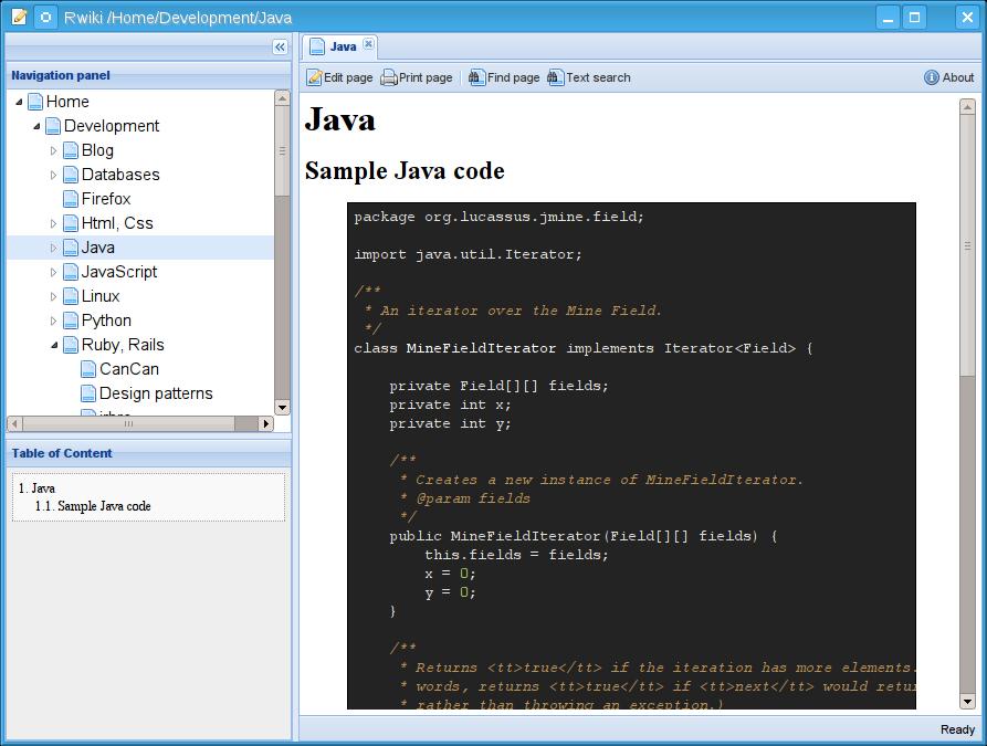 Rwiki java code