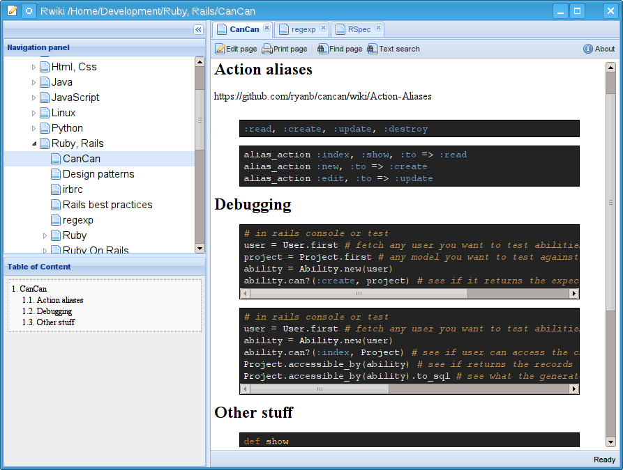 Rwiki main screen