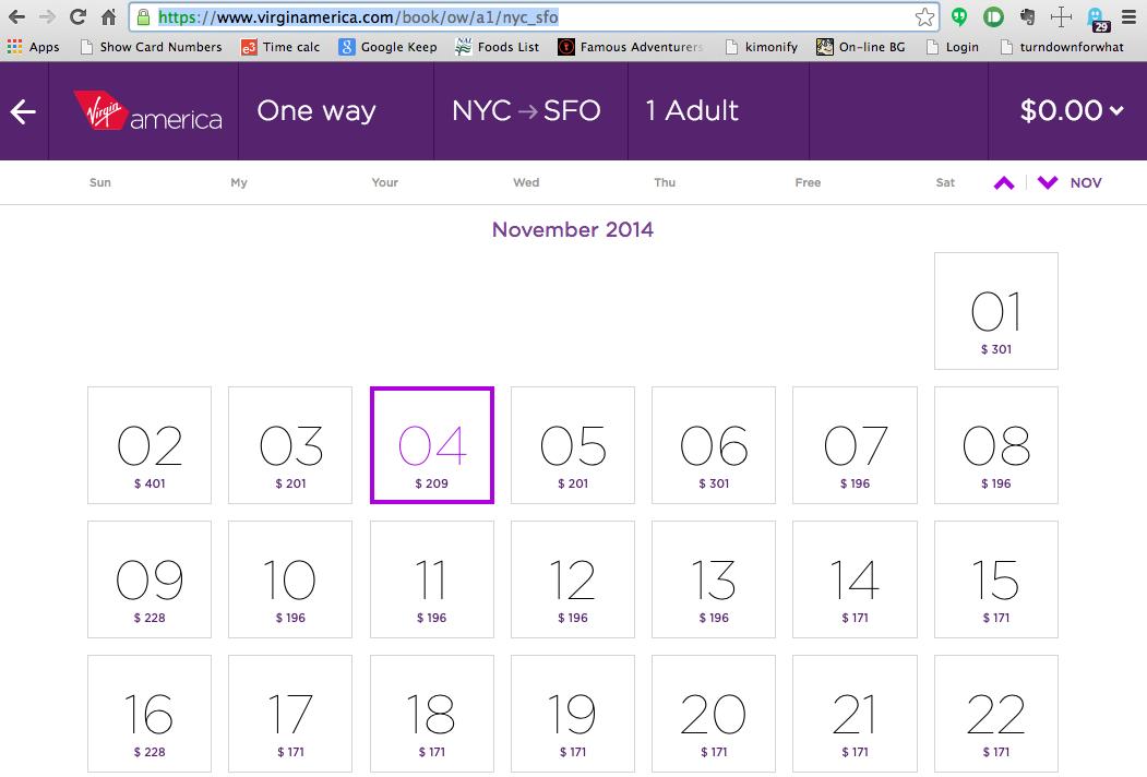 NYC-SFO Calendar