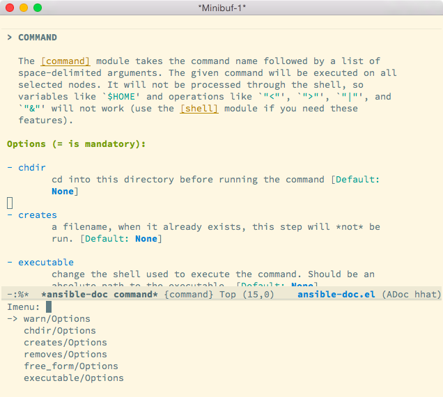 Ansible documentation in GNU Emacs