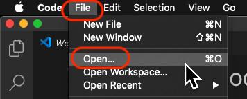 Click File → Open