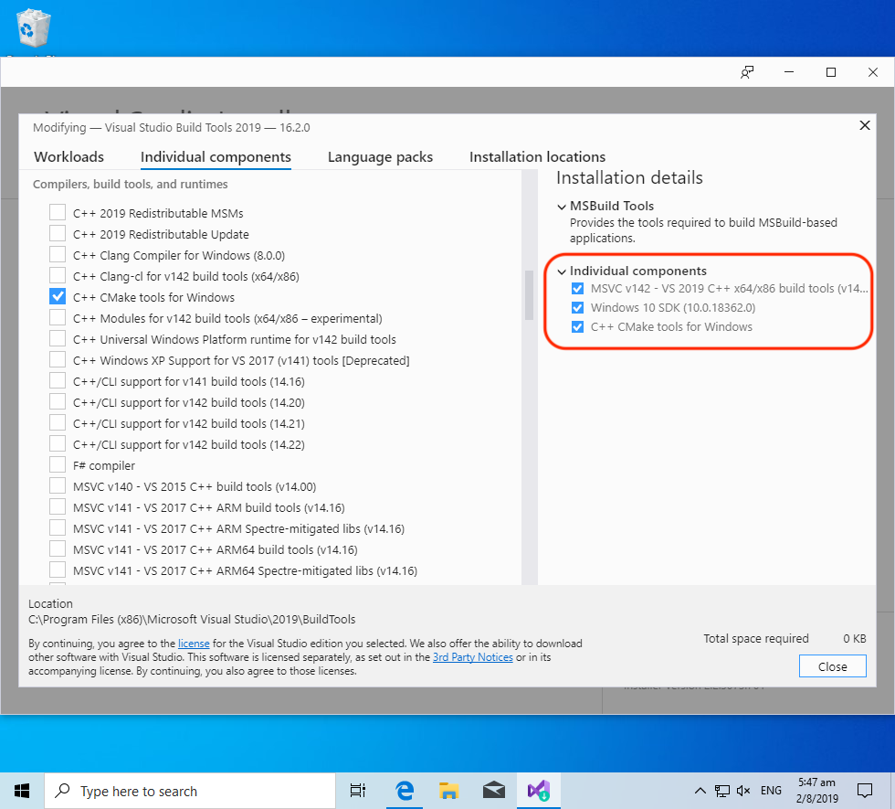 Components for Build Tools For Visual Studio 2019