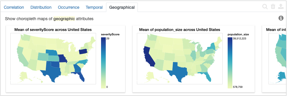 Geographic tab of COVID-19 dataset