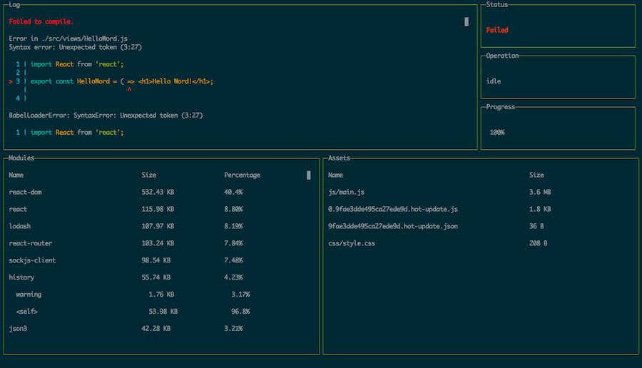 Webpack Dashboard for Lyef Redux Boilerplate