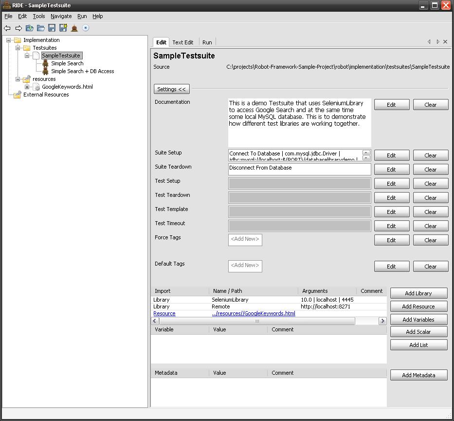 在 RIDE 中编辑 Testsuites 和 Resource 文件