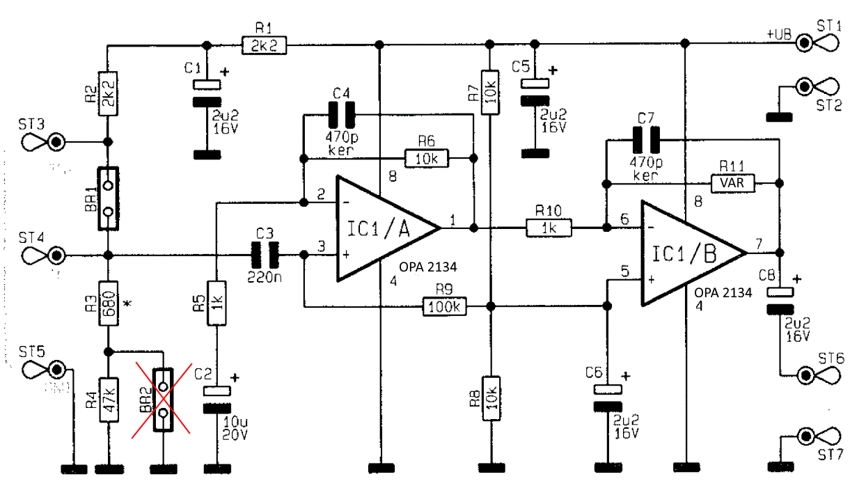 The amplifiers are modified from a complete kit available at ELV as shown  in the Figure below ((C) ELV, published with kind permission based on ...
