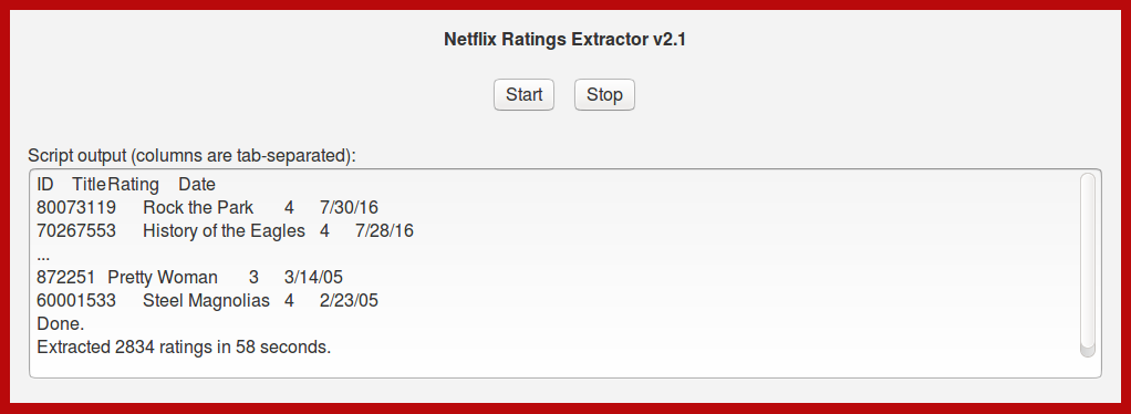 Netflix Ratings Extractor UI