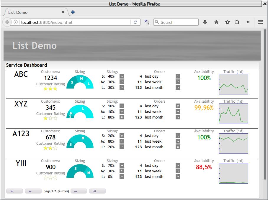 list demo screen shot
