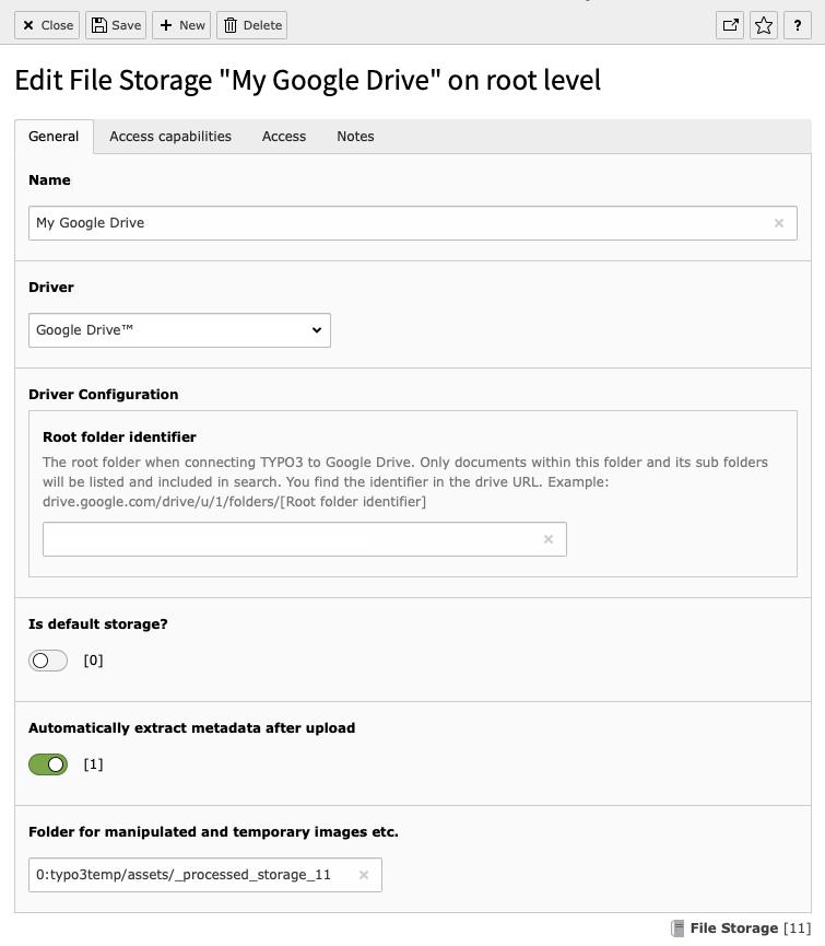 Example file storage record