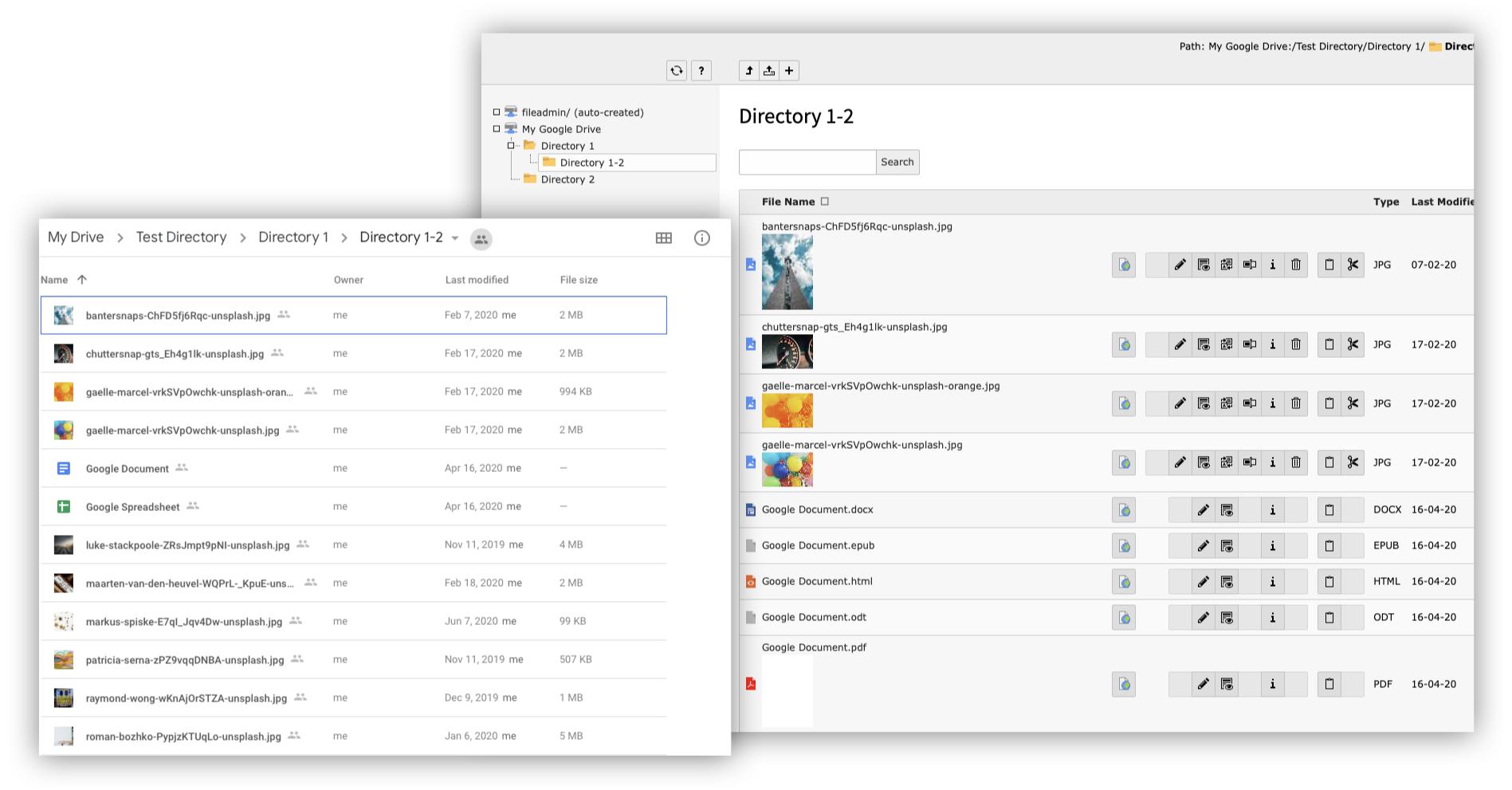 Corresponding folder list in Google Drive and TYPO3 Filelist