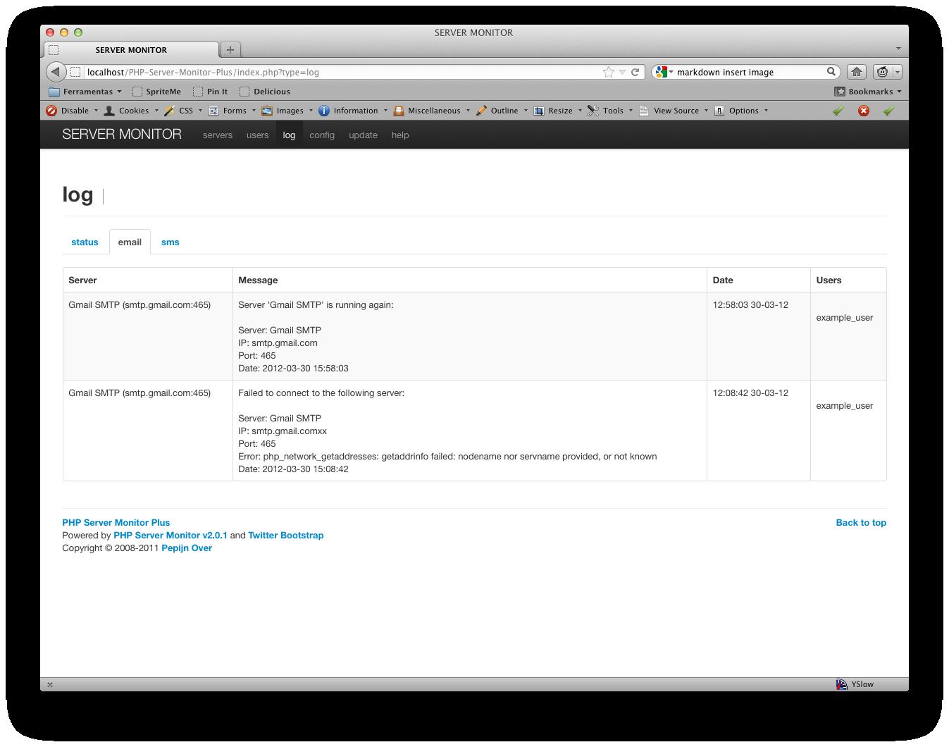Email Log List