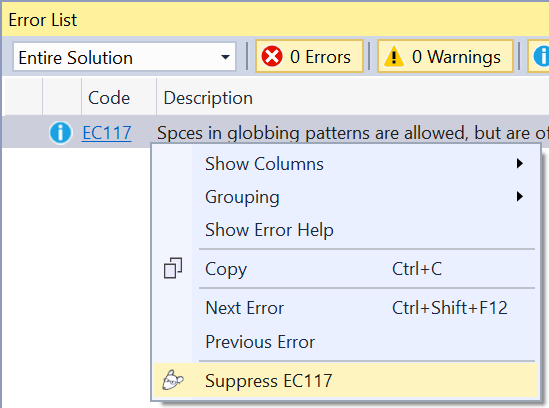 Suppress from Error list