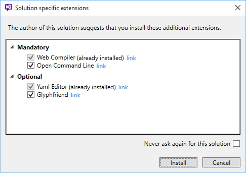 Dialog missing extensions