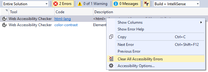 Error List context menu