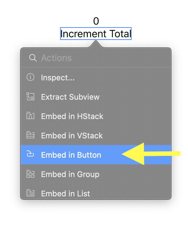 Menu that appears in XCode 11 when Command + Click on an object