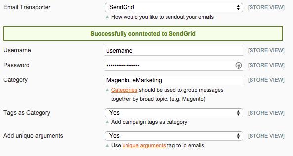 SendGrid configuration