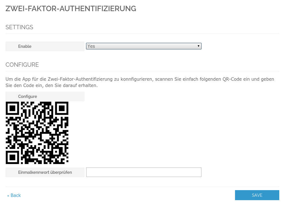 Activate Two-Factor-Authentication for customer account