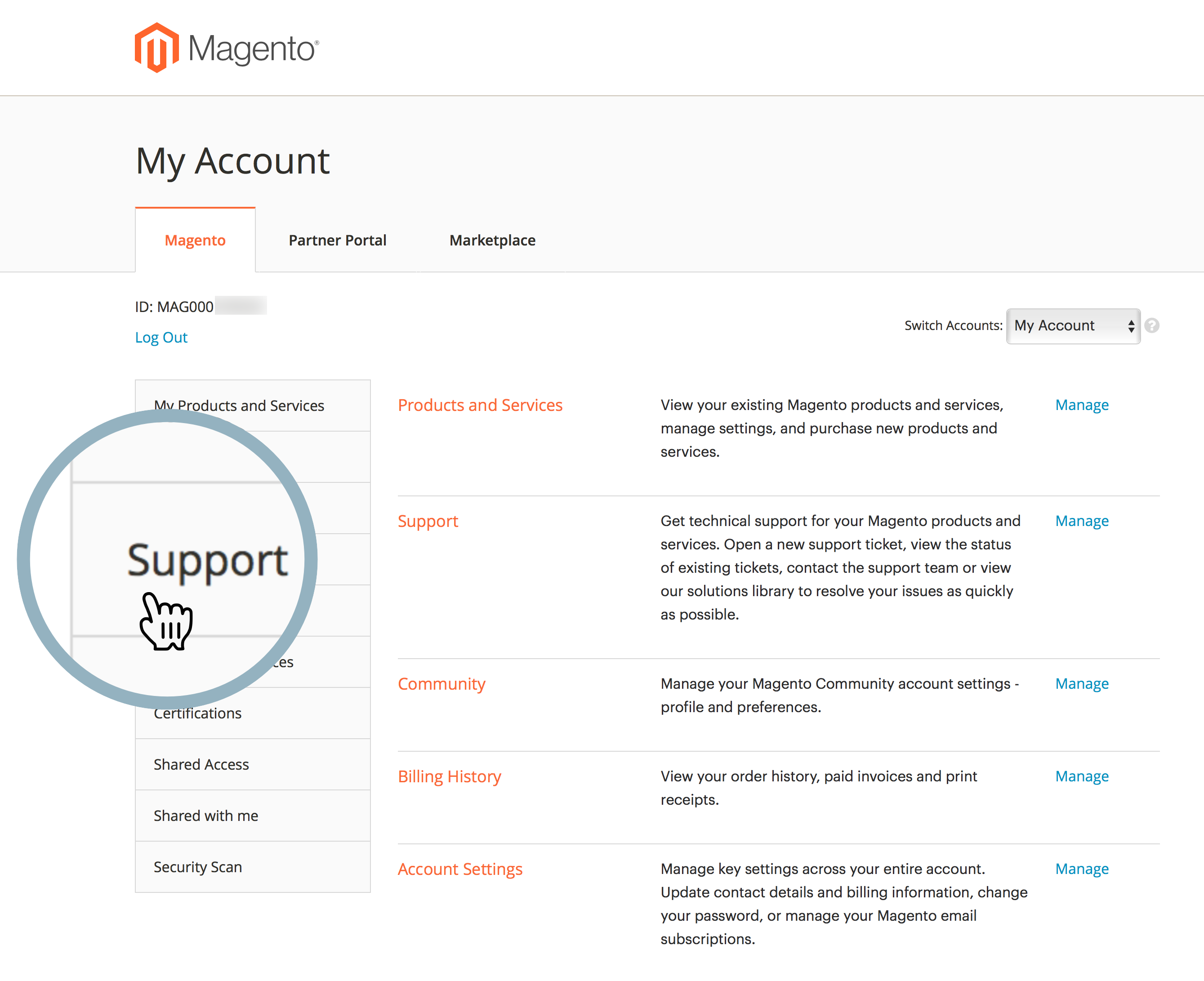 magento_account_support_tab.png