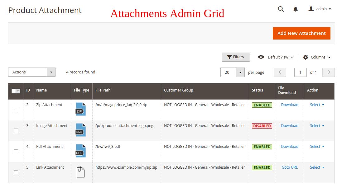 Admin Attachment Grid