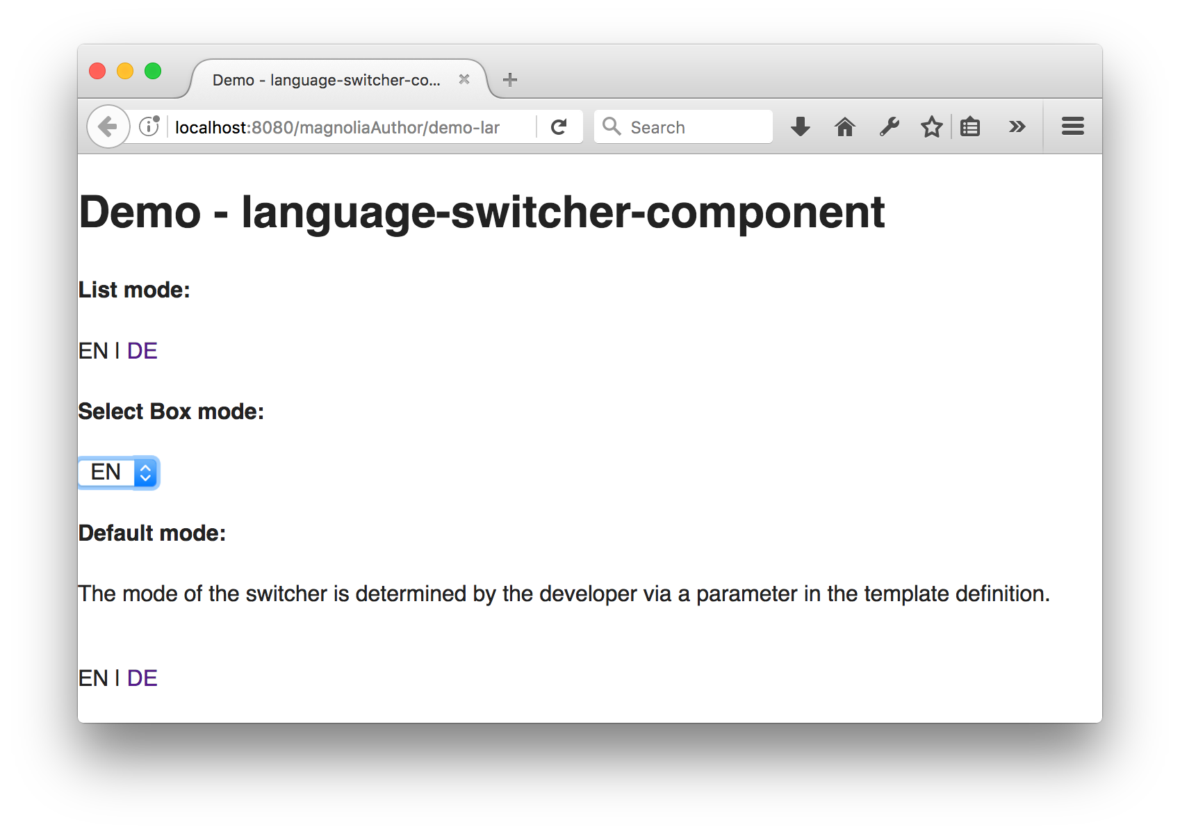 Demo page with component