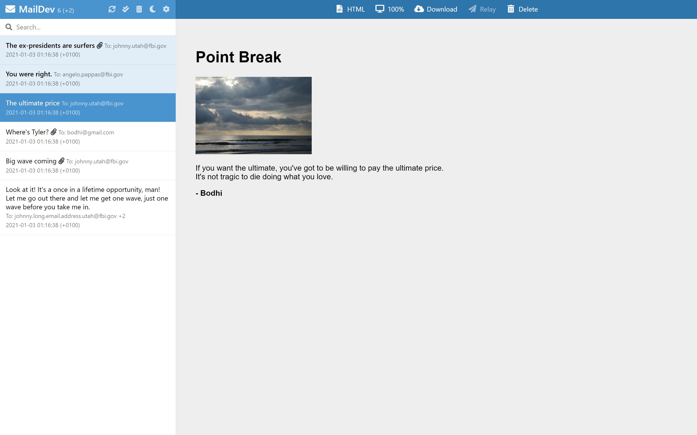 MailDev Screenshot