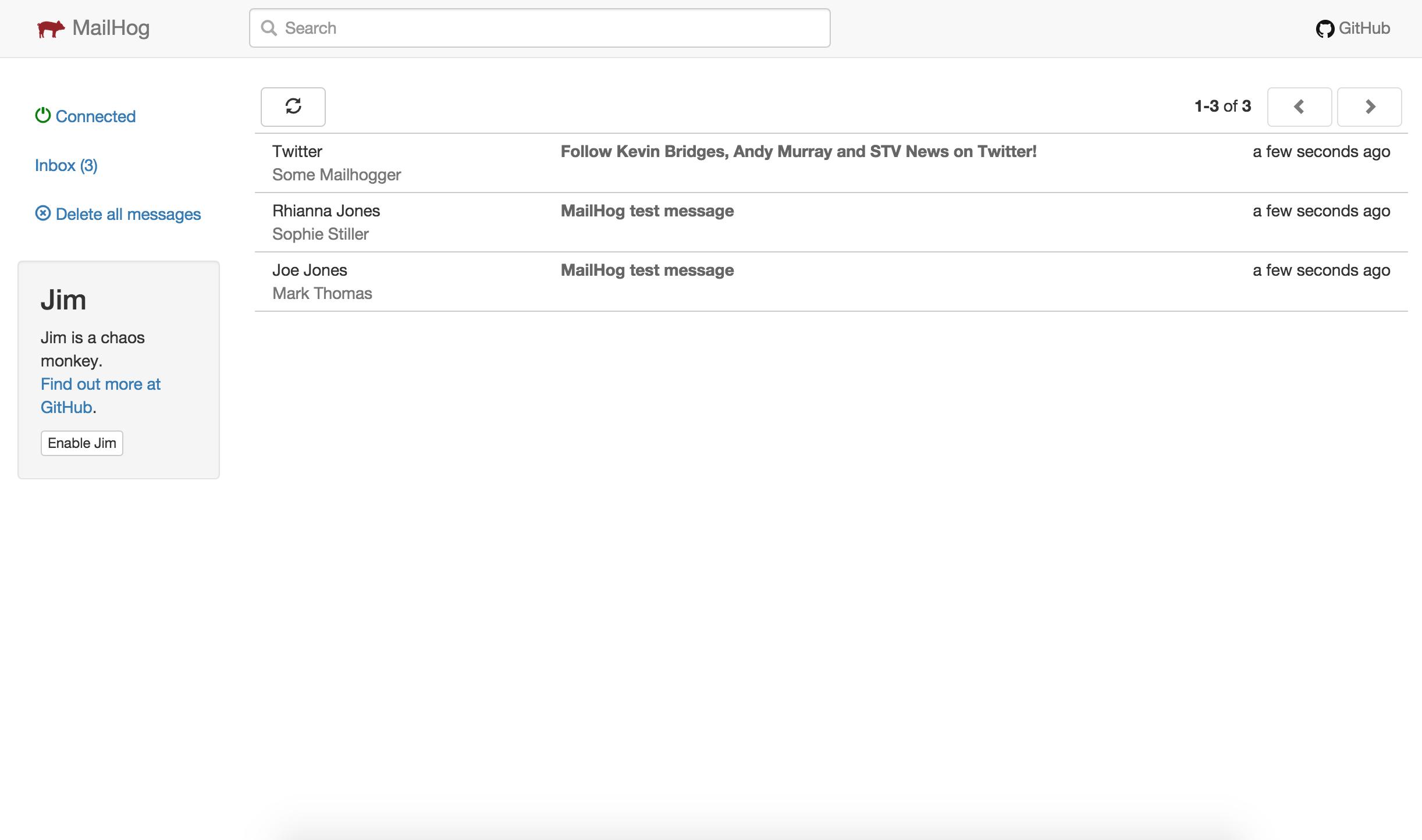 Screenshot of MailHog web interface