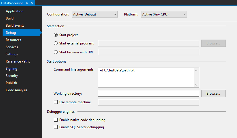command line arguments directory