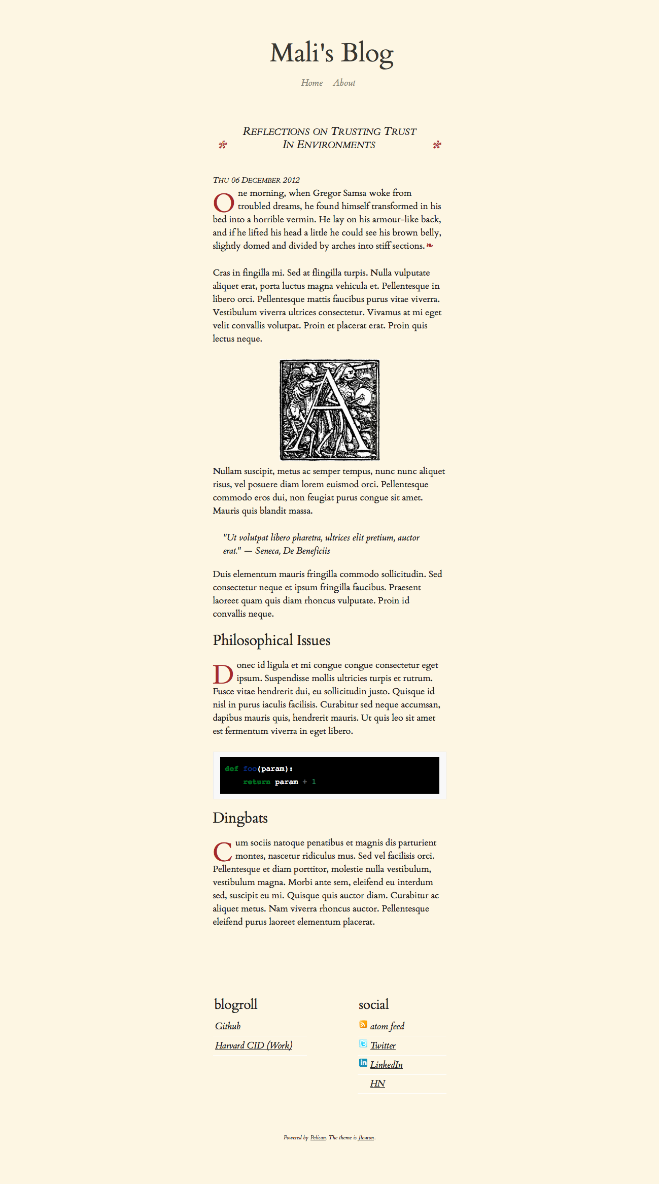 screenshot of fleuron theme article page