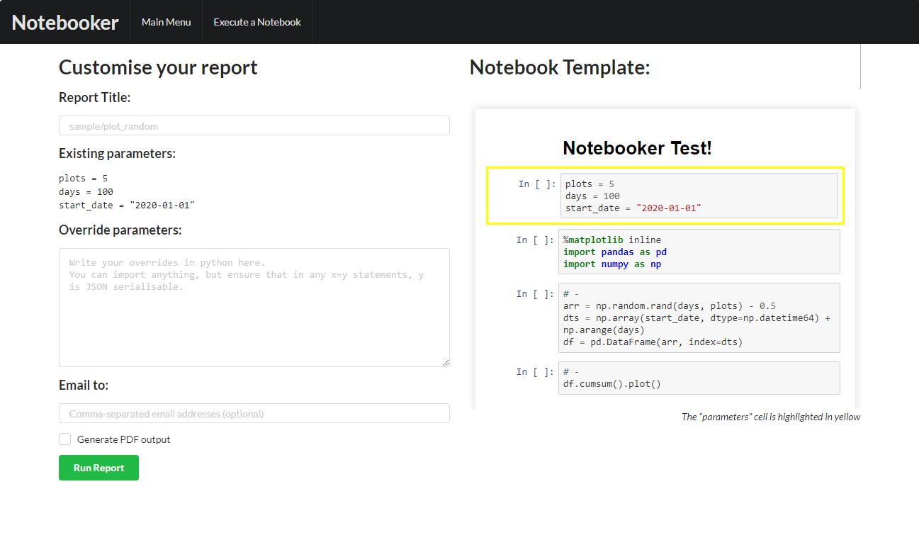 "Screenshot of ""Run A Report"" dialog"