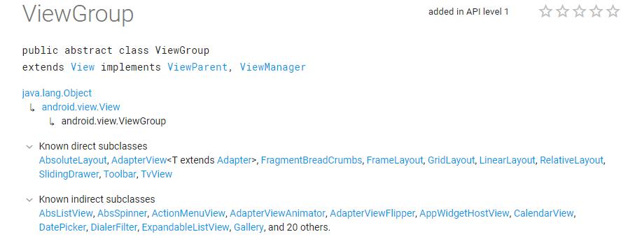 ViewGroup官方文档集成关系