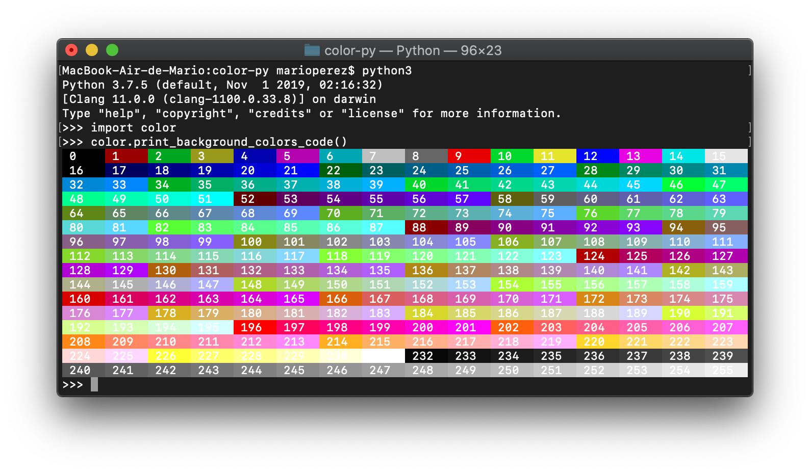 Imprimer los 256 colores de fondo en Python