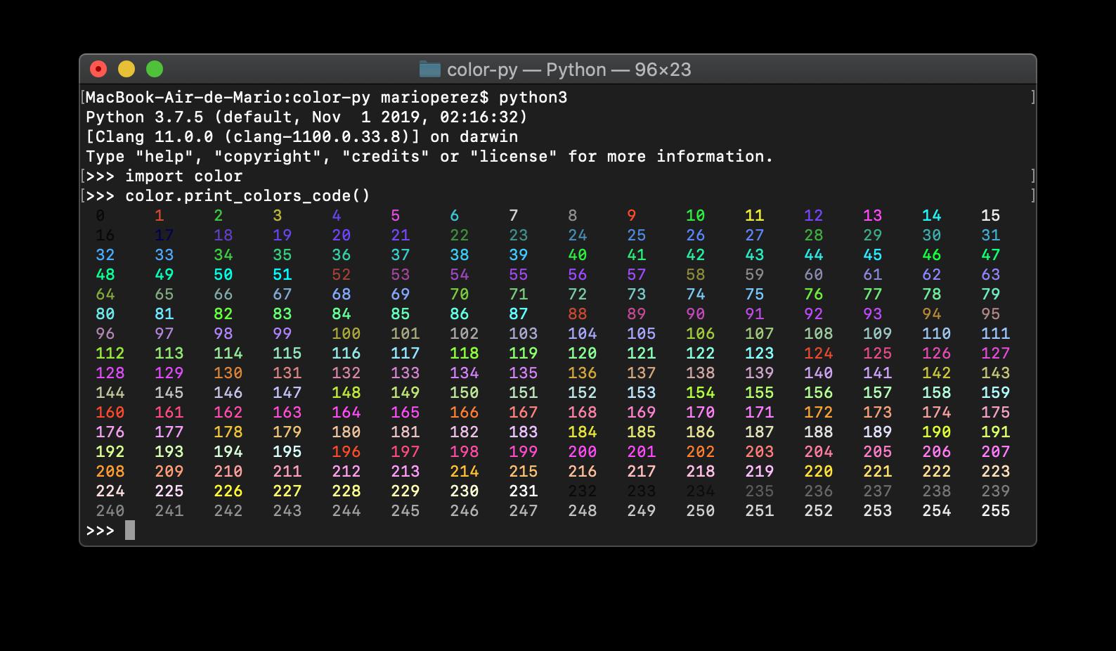 Imprimir los 256 colores en Python