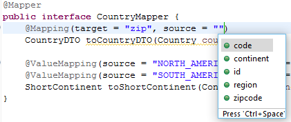 Code completion for properties and enum constants