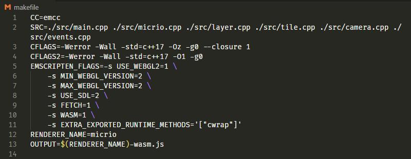 The emscripten C++ Makefile
