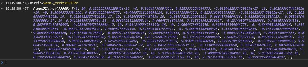 A WebAssembly vertex buffer as Float32Array