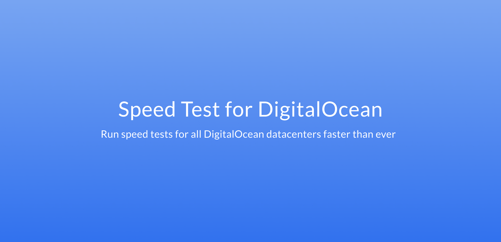 Speed Test for DigitalOcean