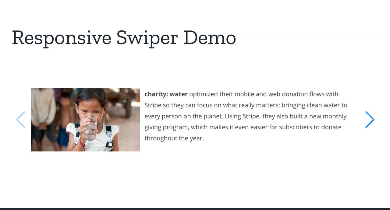swiper slider plugin on a desktop screen