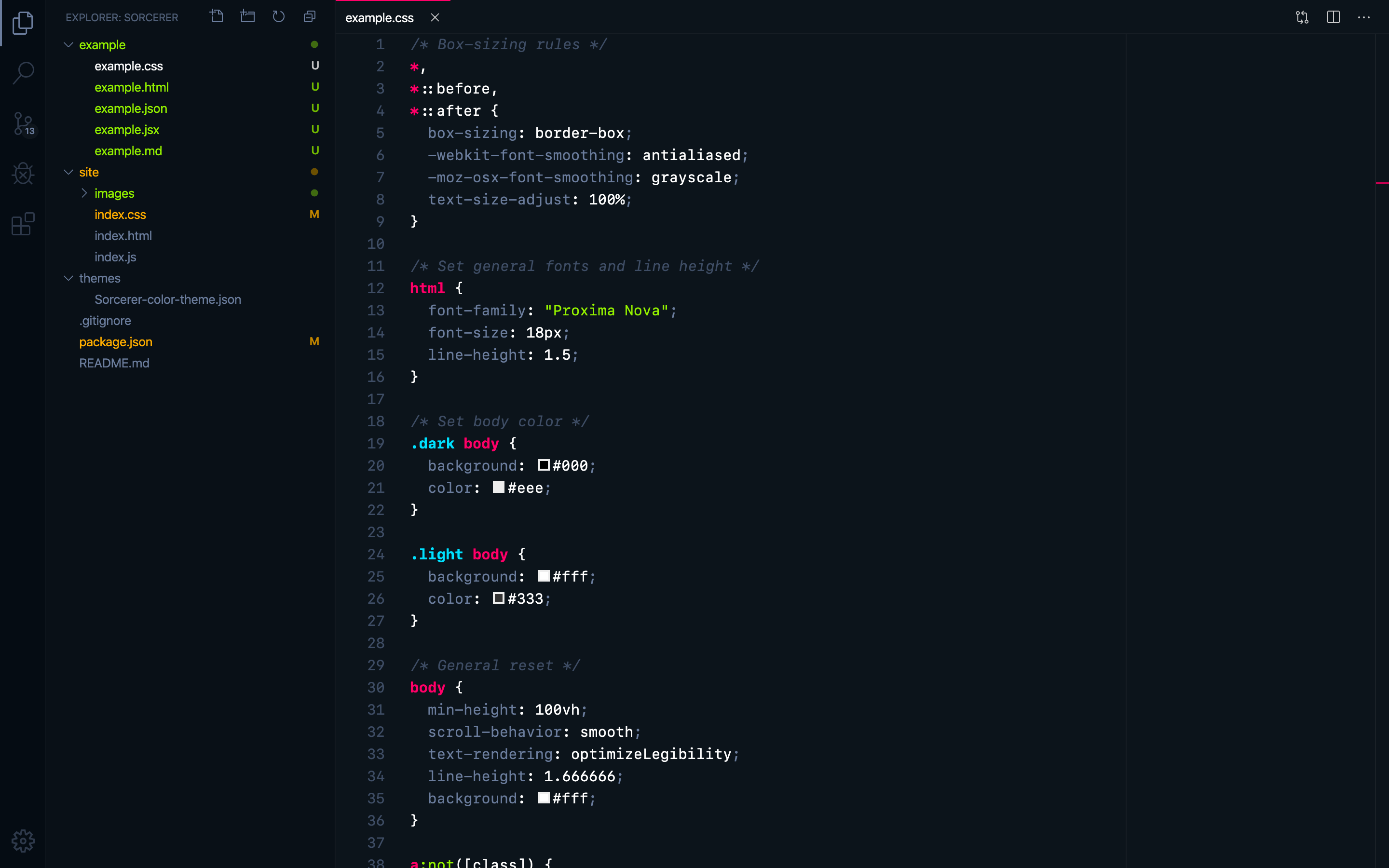 "CSS with VS Code's ""Sorcerer"" theme"