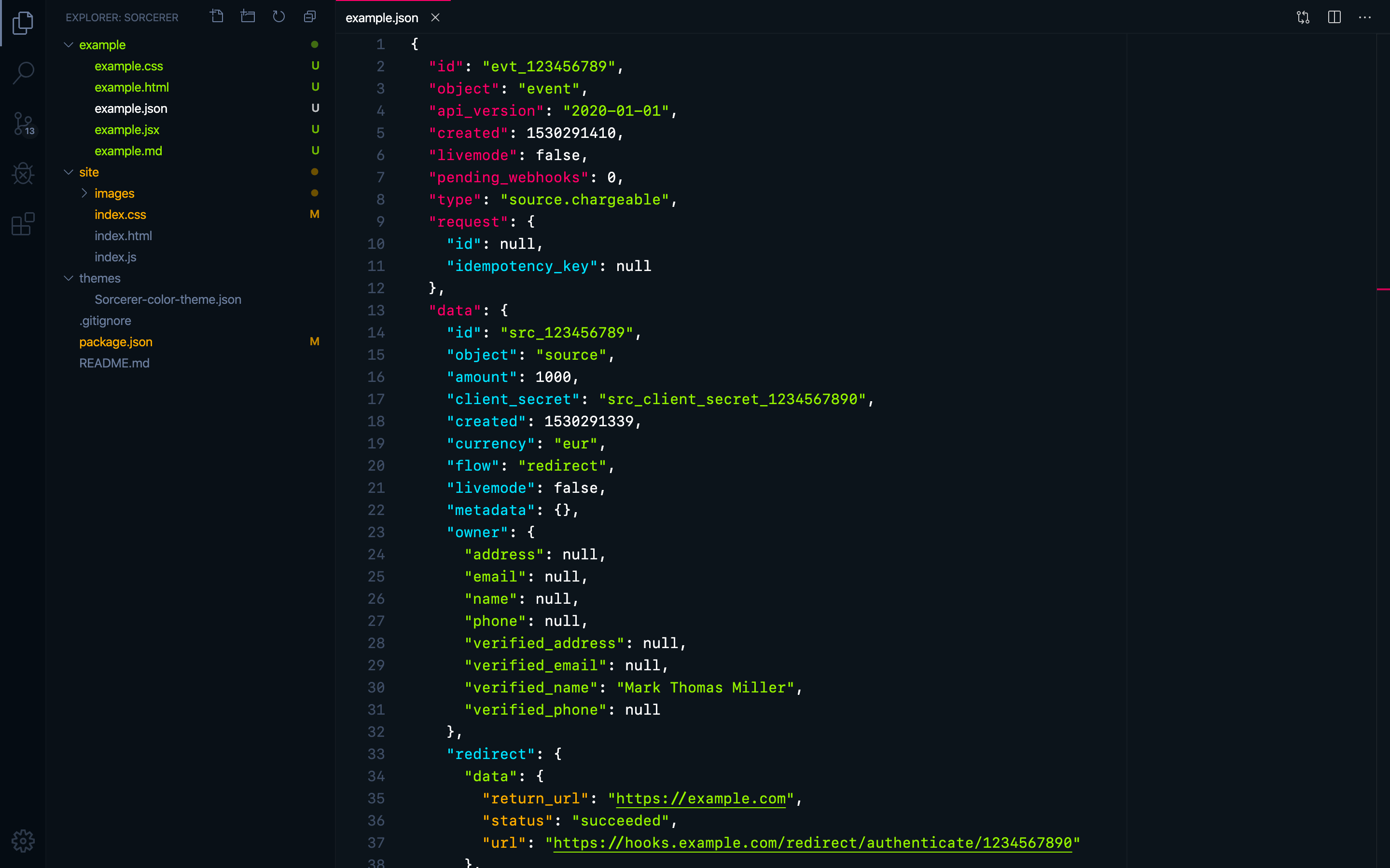"JSON with VS Code's ""Sorcerer"" theme"