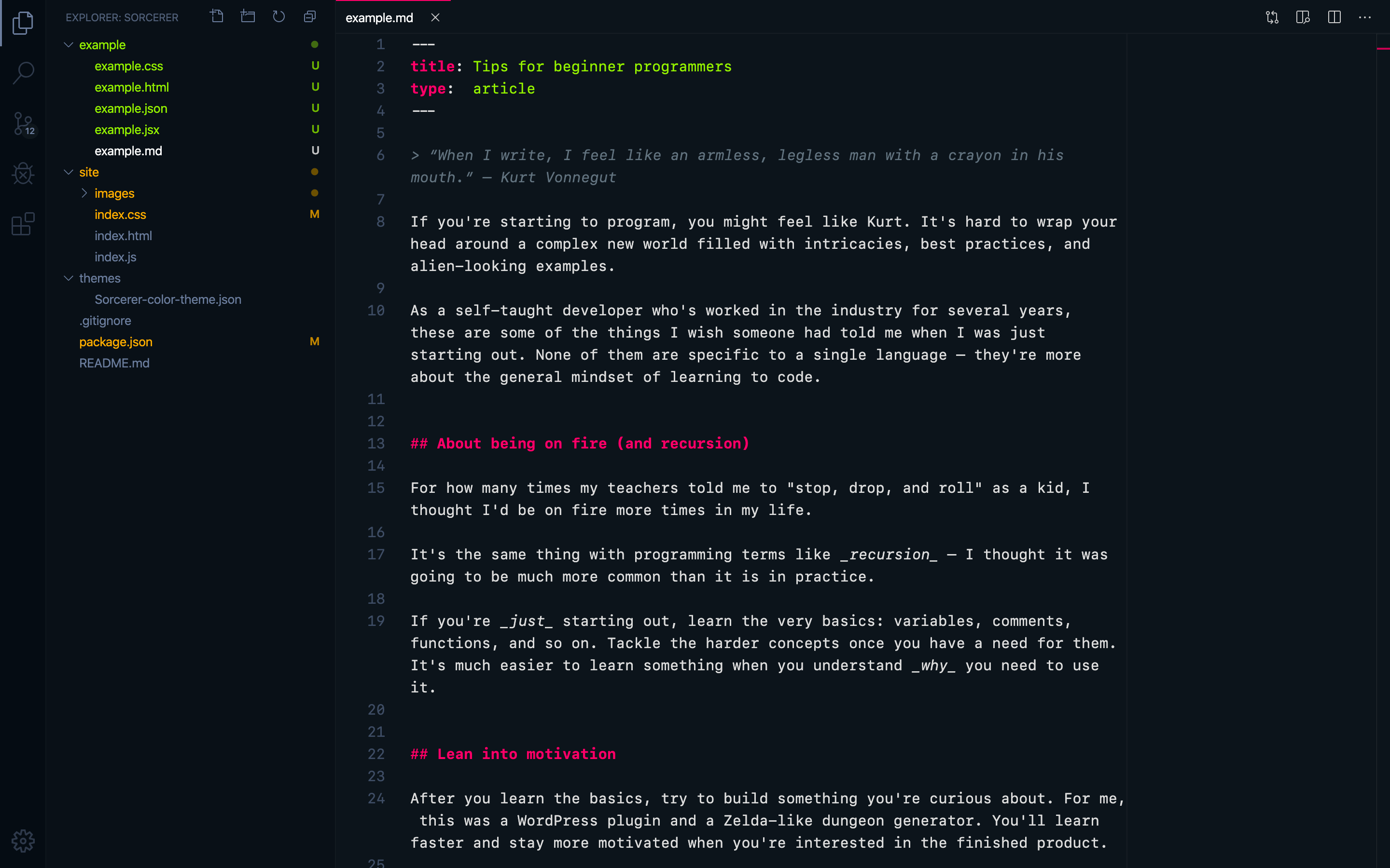 "Markdown with VS Code's ""Sorcerer"" theme"