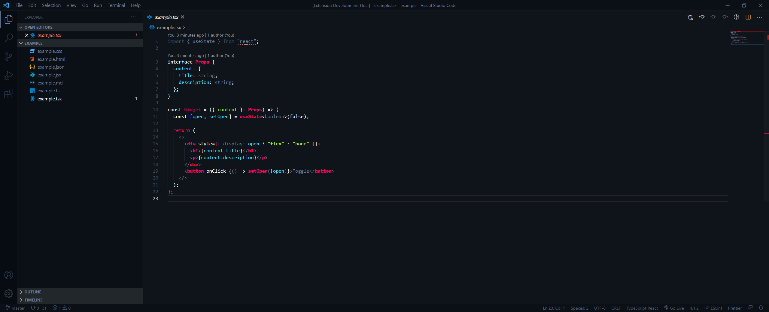 """TSX with VS Code's """"Sorcerer"""" theme"""