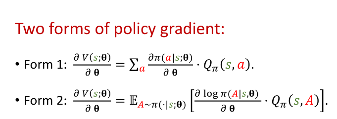 Two forms of policy gradient